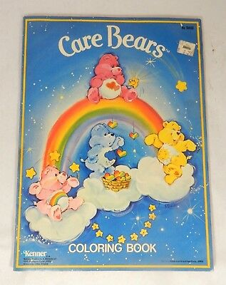 Vintage Care Bears Coloring Book Kenner 1982 Blue w/ Clouds and Rainbows