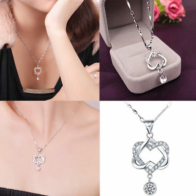 Fashion 925 Silver Plated Women Double Heart Pendant Necklace Chain Jewelry NEW