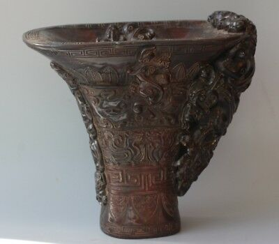Chinese Exquisite Hand-carved brave troops beast pattern carving OX Horn cup