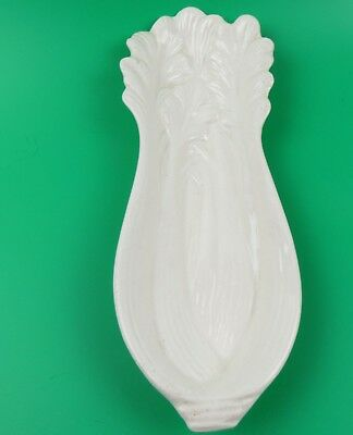 Vintage Ceramic Celery Spoon Rest White Embossed Celery Bunch Small Serving Dish