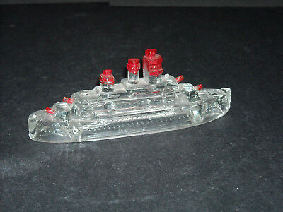 Early Glass Candy Container Figural - Ship Boat