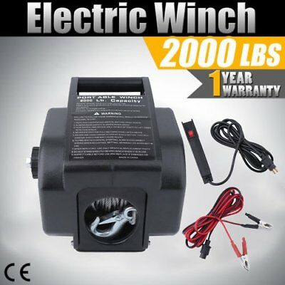 12V 2000LBS/907KGS Steel Rope Electric Winch 4WD ATV BOAT TRUCK Trailer ON