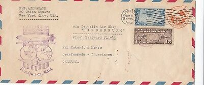 US2) USA 1936 Hindenburg, Cacheted 1st Flight Cover Lakehurst – Frankfurt