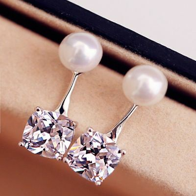 New 2018 Pearl Beads Stud Earrings For Women Wedding Girl Jewelry Silver Plated
