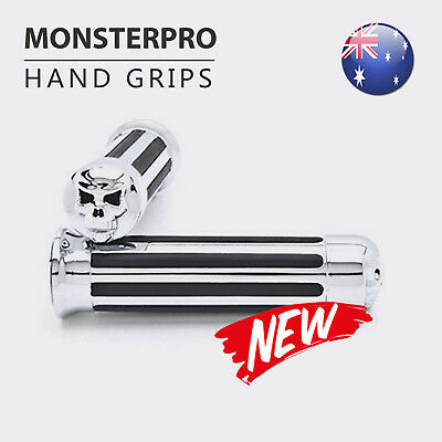 Motorcycle Skull Stripe Chrome Hand Grips Handle Bar 1/'/' for Harley Softail