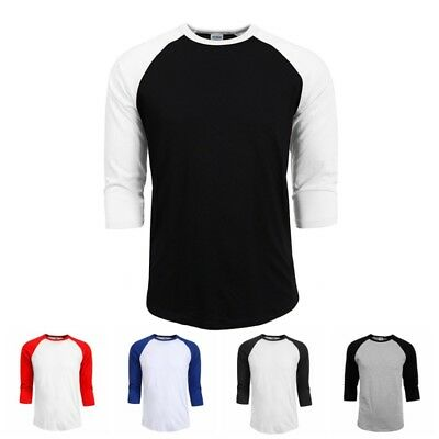 3/4 Sleeve New Raglan Baseball Mens Plain Tee Jersey Team Sports T-Shirt S-2XL