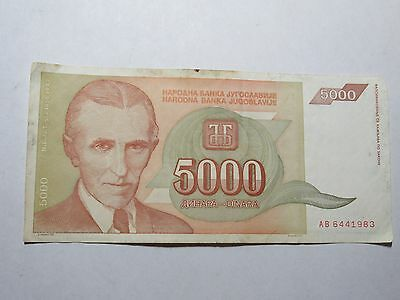 Old Yugoslavia Paper Money Currency - 1993 5000 Dinara Tesla - Well Circulated