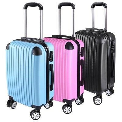 "20"" Cabin Luggage Suitcase - Hard Shell Travel Case Carry On Bag Trolley w/Lock"