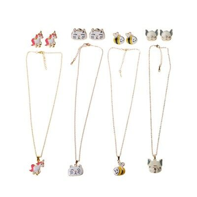 Children Animal Jewelry Unicorn Cat Dog Bees Necklace Stud Earring Set For Kids