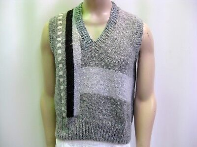 1980's HAND KNITTED VEST - Unisex Grey - Small - Med