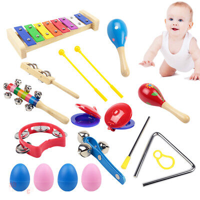 15X Kids Wooden Music Instruments Kit Set Children Toddlers Toys Percussion Gift