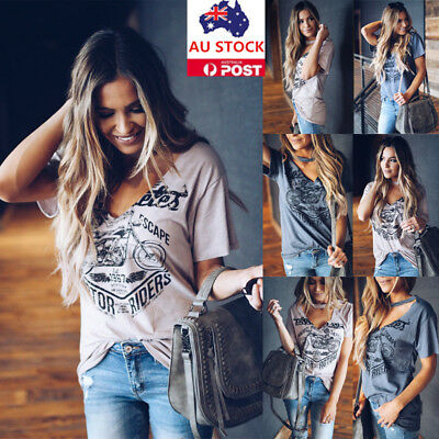 Women Choker V Neck Short Sleeve T-shirt Summer Beach Casual Party Tops Blouse