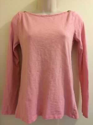 608f651f J Crew Painter Tee Womens Size Medium Light Pink Long Sleeve Boatneck Top  FLAW