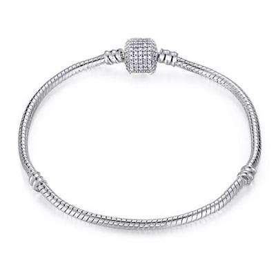 Fashion Silver Snake Chain Bracelet Bangle Fit 925 sterling European Beads Charm