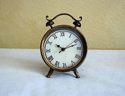 Antique-Style Weathered Aged Brass 12-Hour Display Metal Accent Clock - New