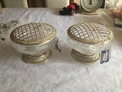 PAIR Vintage Queen Anne Crystal Glass Vase Bowl Posy/Rose/Flower Metal Grill Top