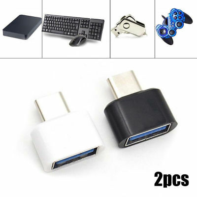 2PC USB-C Android OTG Adapter Micro Type C Converter USB 3.1 Male To USB Female
