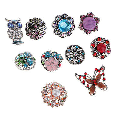 10psc 18mm Flower Butterfly Snap Charm Buttons For Ginger Snap Style Jewelry