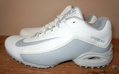 New Womens Nike Speedlax 5 Lacrosse Turf Cleats White Silver 807157-100 35.5  5