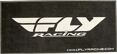 """Garage Shop Mancave FLY RACING RUG 33"""" x 73"""" Floor Mat Black and White NEW"""