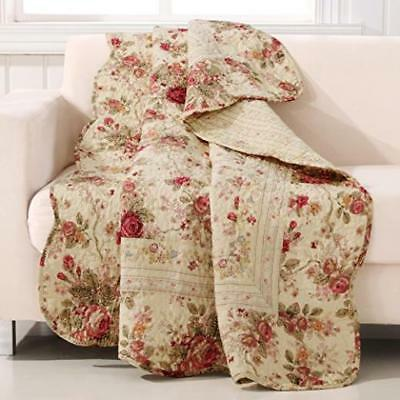 Greenland Home Antique Rose Quilted Patchwork Throw Machine Washable US SELLER