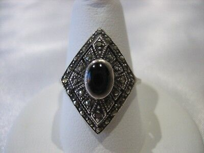 Vintage Art Deco Style Sterling Silver Marcasite Ring 3.7 Grams Size 7.75