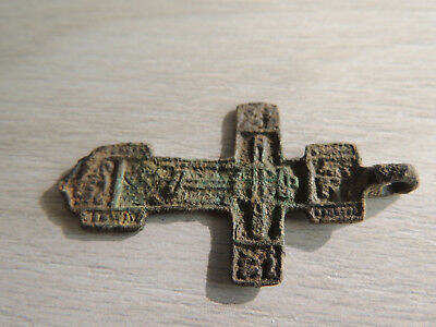 Antique Medieval Bronze Cross Pendant