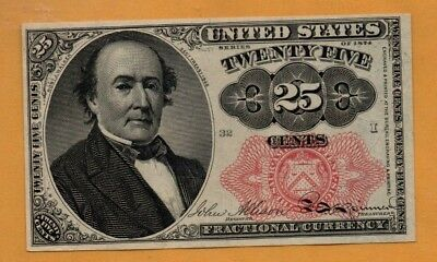 US FR.1308 FR1308 Fifth Issue Fractional Red Seal 25 Cents Uncirculated Walker