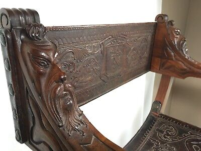 "Antique Carved Savonarola Chair Dragons Sword Coat Of Arms Heads 34""x 25""x 18"""