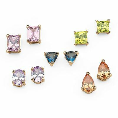 11.42 TCWCZ 5-Pair Multicolor Stud Earrings Set in Gold Tone