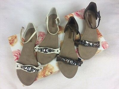 Atmosphere Brown White Jeweled Ankle Strap Sandals Bundle Job Lot Size 6 Summer