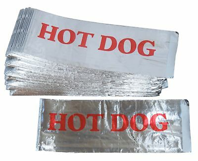Printed Foil Hot Dog Bags (100 Count) - Silver / Red