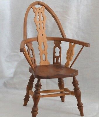 """Miniature Vintage Wood11"""" Windsor Chair For Antique Doll/bear Display Signed 2"""