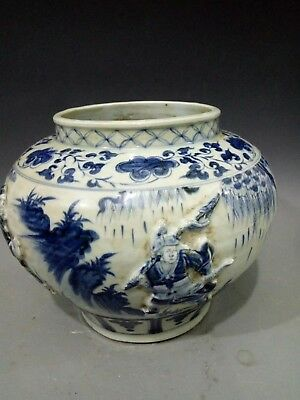 Chinese old hand-made Blue and White Hand painted figure porcelain pot