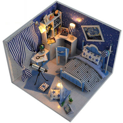Blue Miniature DIY Wooden Dollhouse Mini Creative Room With Lights Easy Assembly