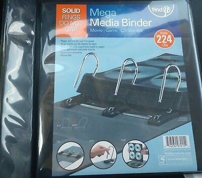 Find It Gapless Mega Media Binder, 4 Inch Spine, 224 CD Capacity, No Pages