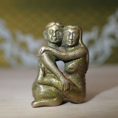 Charm Erotic Thai Amulet INN Man & Woman Brass Love Sexual Lucky Attraction 25mm