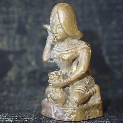 Thai Amulet  Paladkik Brass Statue Nang Kwak Love Sexual Attraction Lucky Charm