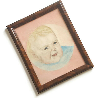 Vintage Watercolor Baby Portrait Infant Naive Framed Signed Very Sweet