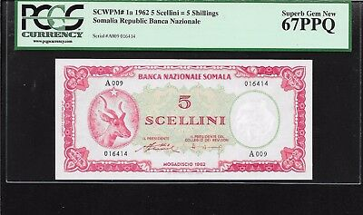 P-1a 1962 SOMALIA 5 SCELLINI = 5 SHILLINGS PCGS 67 PPQ SUPERB FINEST KNOWN!