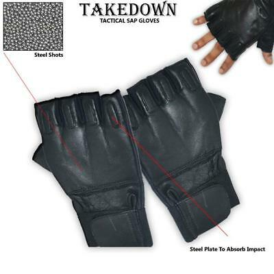 New Genuine Sap Gloves Real Goatskin Leather Black Fingerless Comfortable Size L