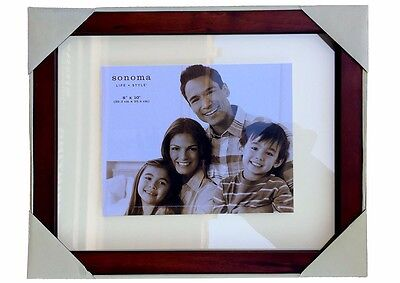 Wood Floating Frame 14x17 inch  Walnut Finish Double Glass Picture Frame Sonoma