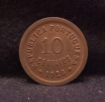 1925 Portugal 10 centavos, earlier Republic coinage, KM-573
