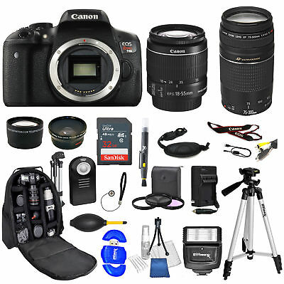 Canon Eos Rebel T6I Camera + 18-55mm stm + 75-300mm+ PHOTO PRO BUNDLE- BRAND NEW