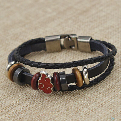 Japanese Anime Naruto Bracelet Leather Bangle Charms Handmade Fashion Gift
