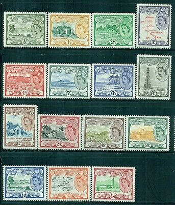 ST. KITTS-NEVIS 120-34 SG106a-18 MH 1954-57 QEII Defin set of 12 Cat$76