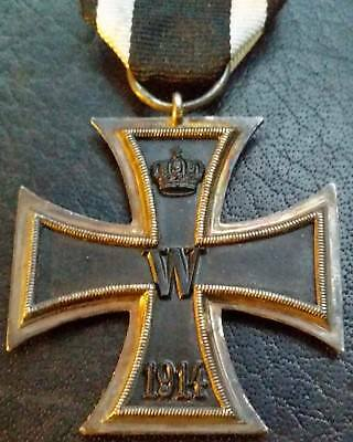 ✚6871✚ German Iron Cross II. Class medal WW1 3 PIECE CONSTR. MAGNETIC MAKER: EM