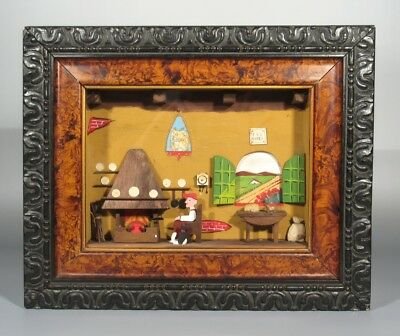 Vintage French Shadowbox Three Dimensional Scene, Farmer's House, Cat, Landscape