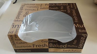 "20 Bakery Boxes with Window 10 1/4"" x 8"" x 4"" Printed cupcakes muffins pastries"