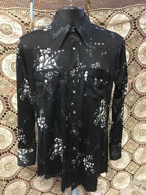 Vintage H Bar C Western Shirt Men's 1970's Size 15 1/2-33 Black Grey Red Flowers